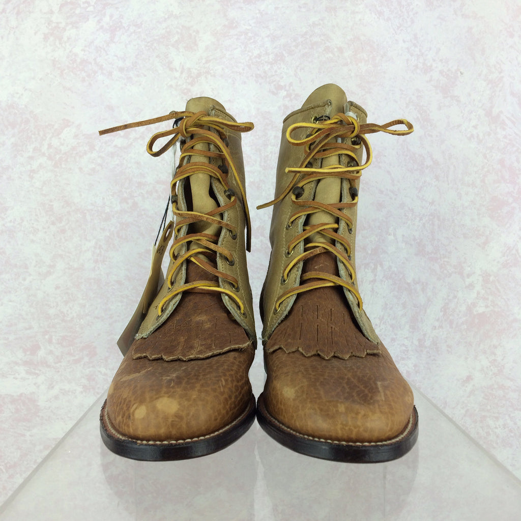 2000s JUSTIN Lace-Up Leather & Canvas Boots, Front