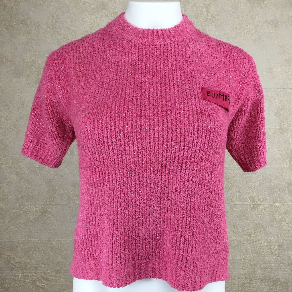 Vintage 90s BLUMARINE Chenille Knit Top, Front