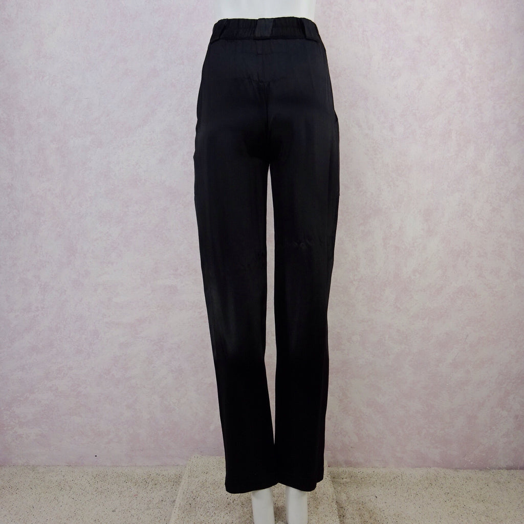 2000s CHANGES High- Waisted Black Satin Pants, NOS b