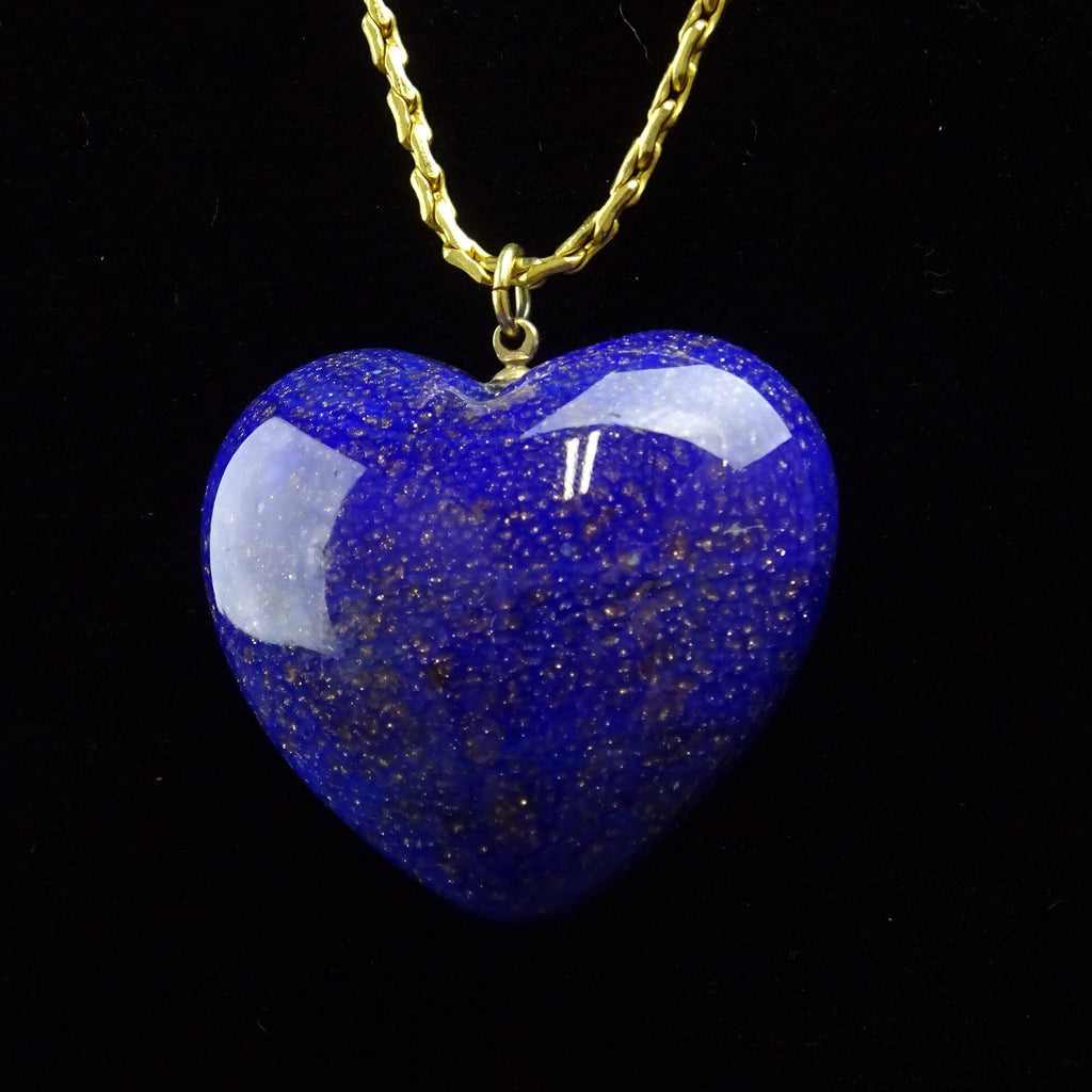 Vintage 70s DE LILLO Lapis-Colored Heart Pendant Necklace b
