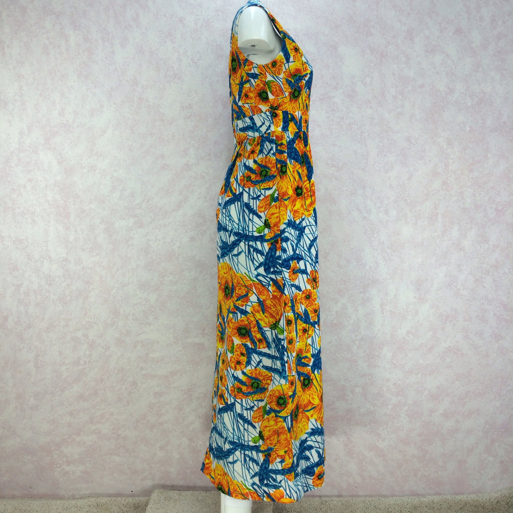 Vintage 70s Tropical Poppy Print Maxi Dress, Side 2