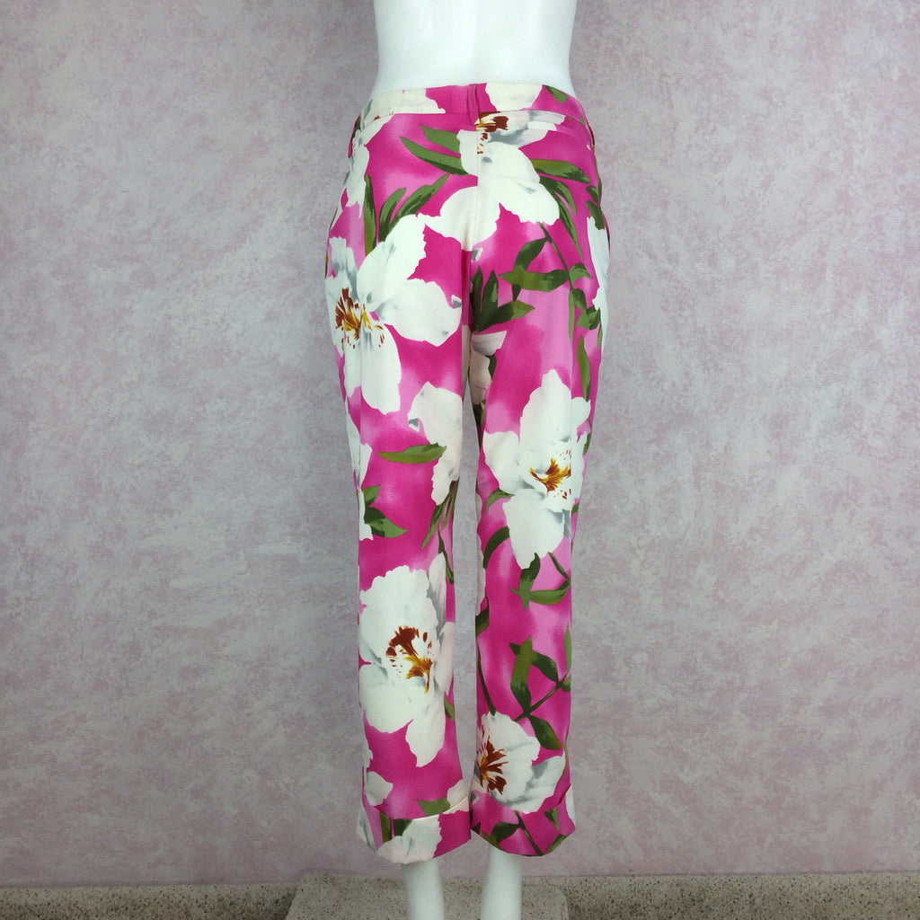 2000s CACHAREL Pink Bold Floral Print Pants, Back