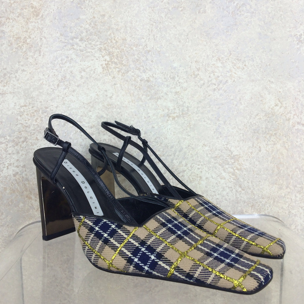 Vintage 90s DIEGO DOLCINI Plaid Slingback Shoes, Side