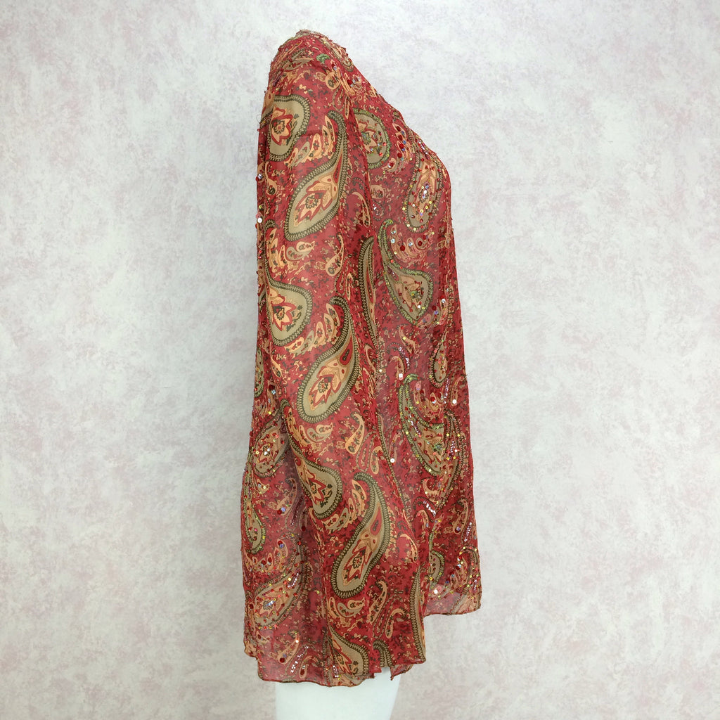 2000s Silk Paisley Tunic w/Colorful Beading Detail, Side 2