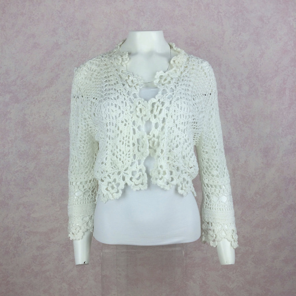 2000s THE WRIGHTS White Cotton Crochet Sweater, Front