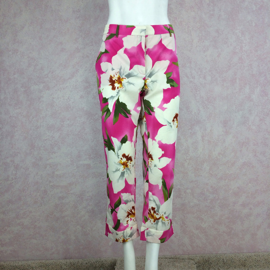 2000s CACHAREL Pink Bold Floral Print Pants, Front