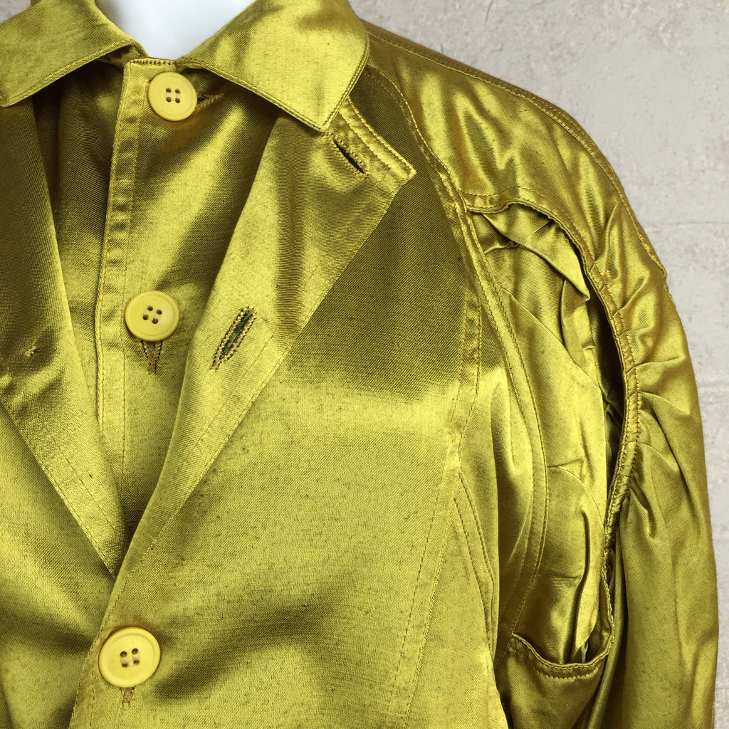 Vintage 80s Chartreuse Bomber Jacket/Blouse, Close Up