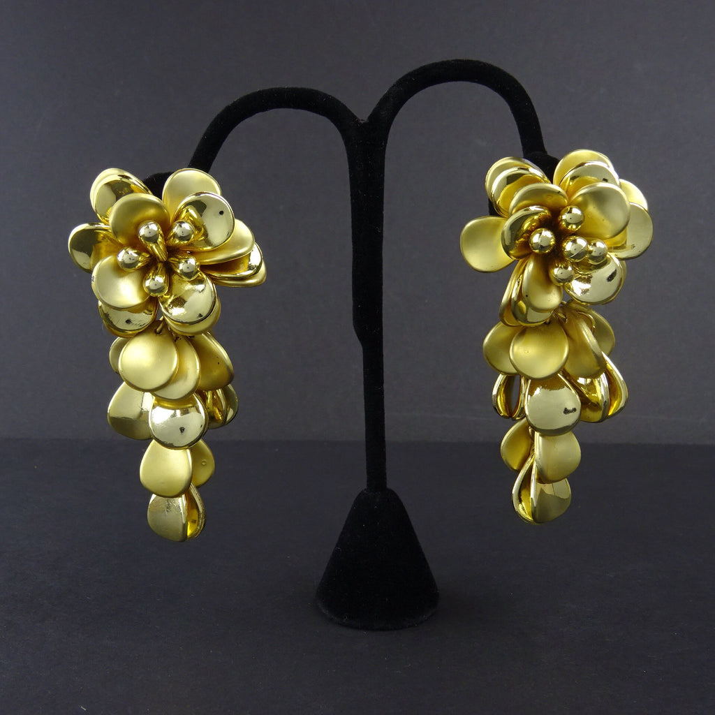 Vintage 80s Long Muti-Petal Floral Gold-Tone Earrings