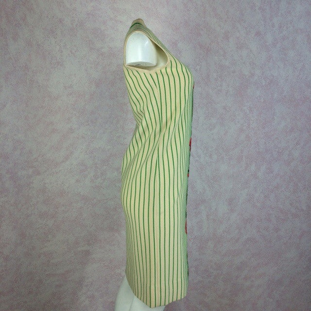 Vintage 60s Striped Knit Dress w/Embroidered Rose, Side 2