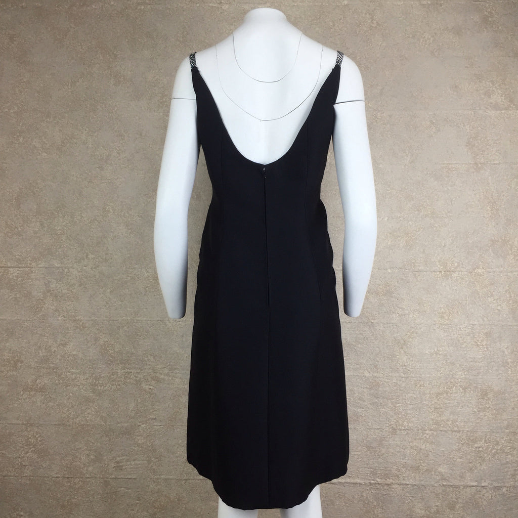 Vintage 60s TRIGERE Classic Black Dress, Back