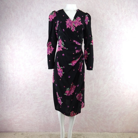 Vintage 40s Ditsy Heart Printed Hostess Dress, NOS