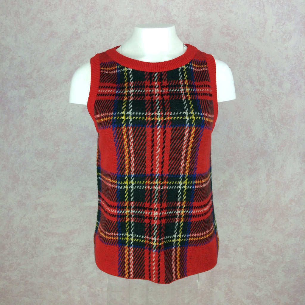 2000s BILL BLASS USA Red Plaid Twin Set, Top