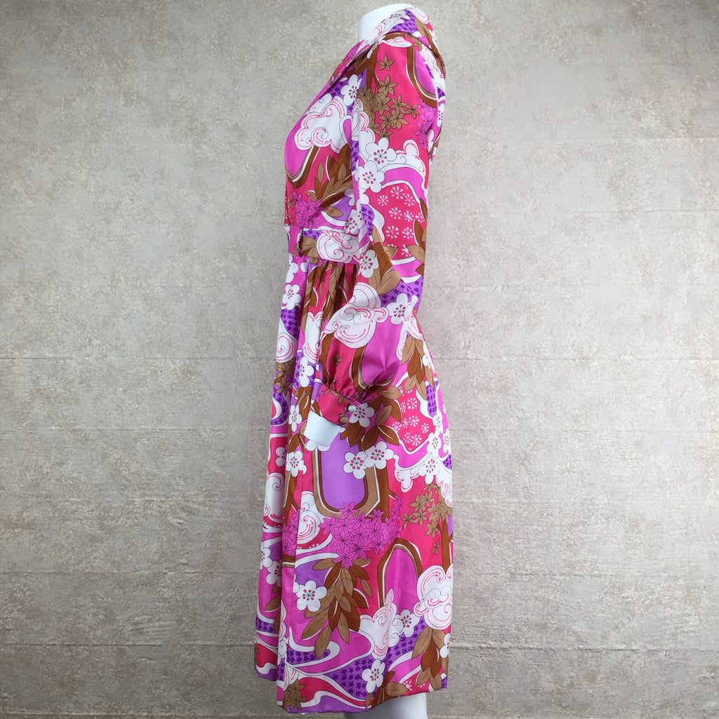 Vintage 70s Psychedelic Wrap Dress, side 2