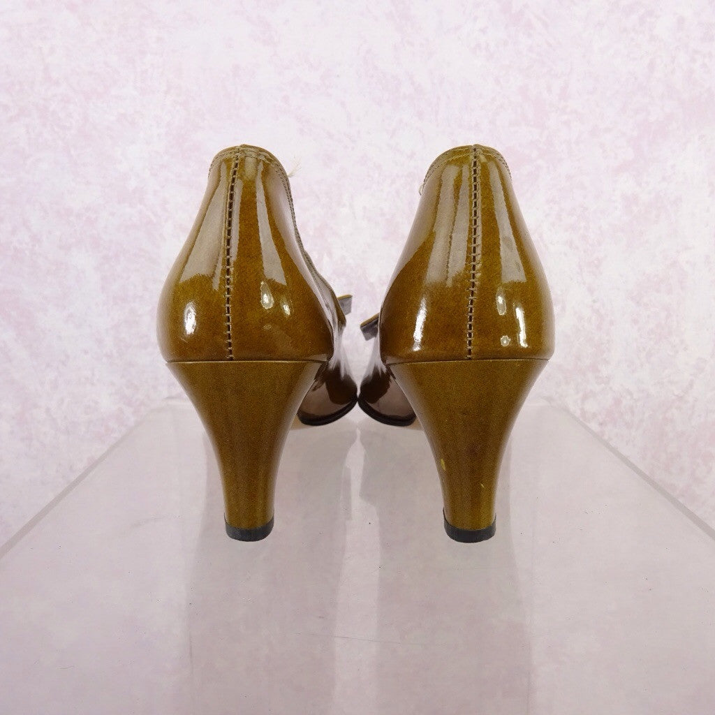 Vintage 70s Mustard Patent Leather Pumps w/Buckle qwe