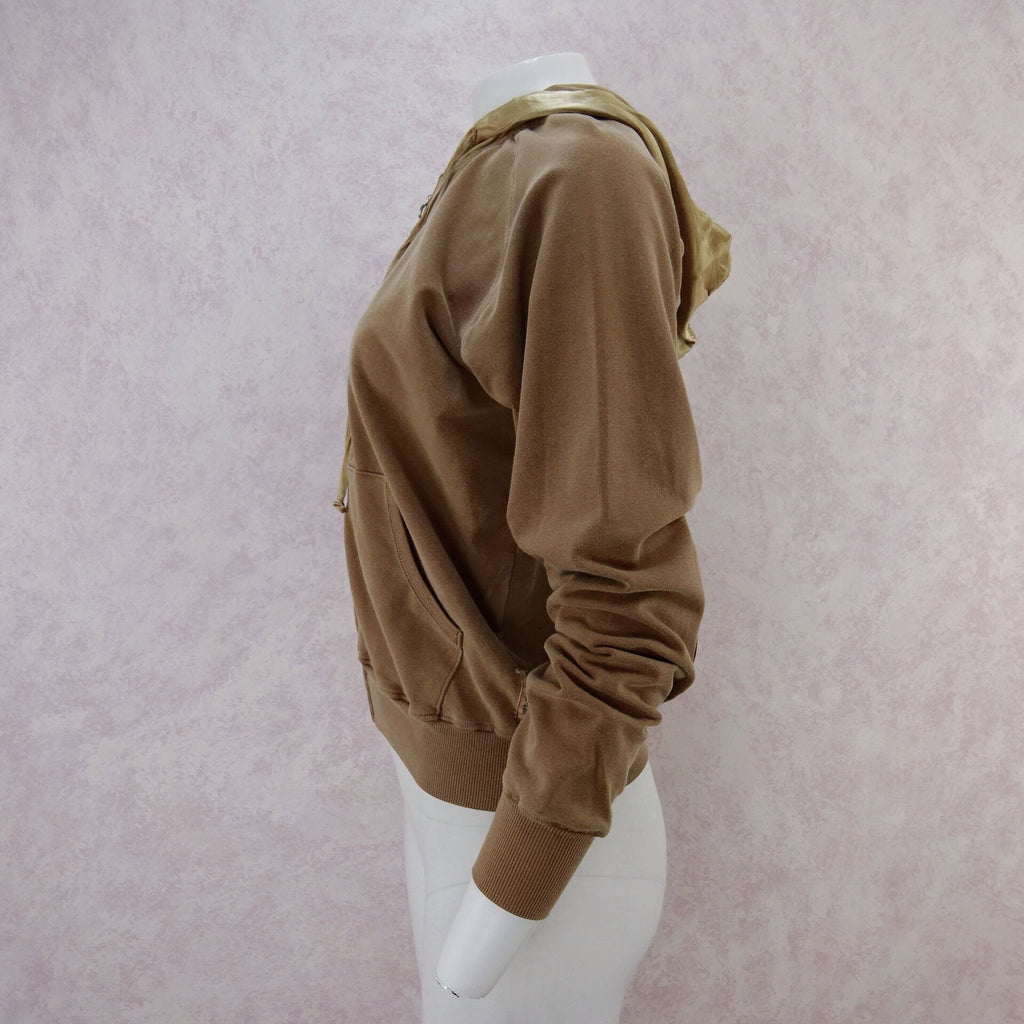 2000s Cashew Cotton and Satin Hoodie, NOS s