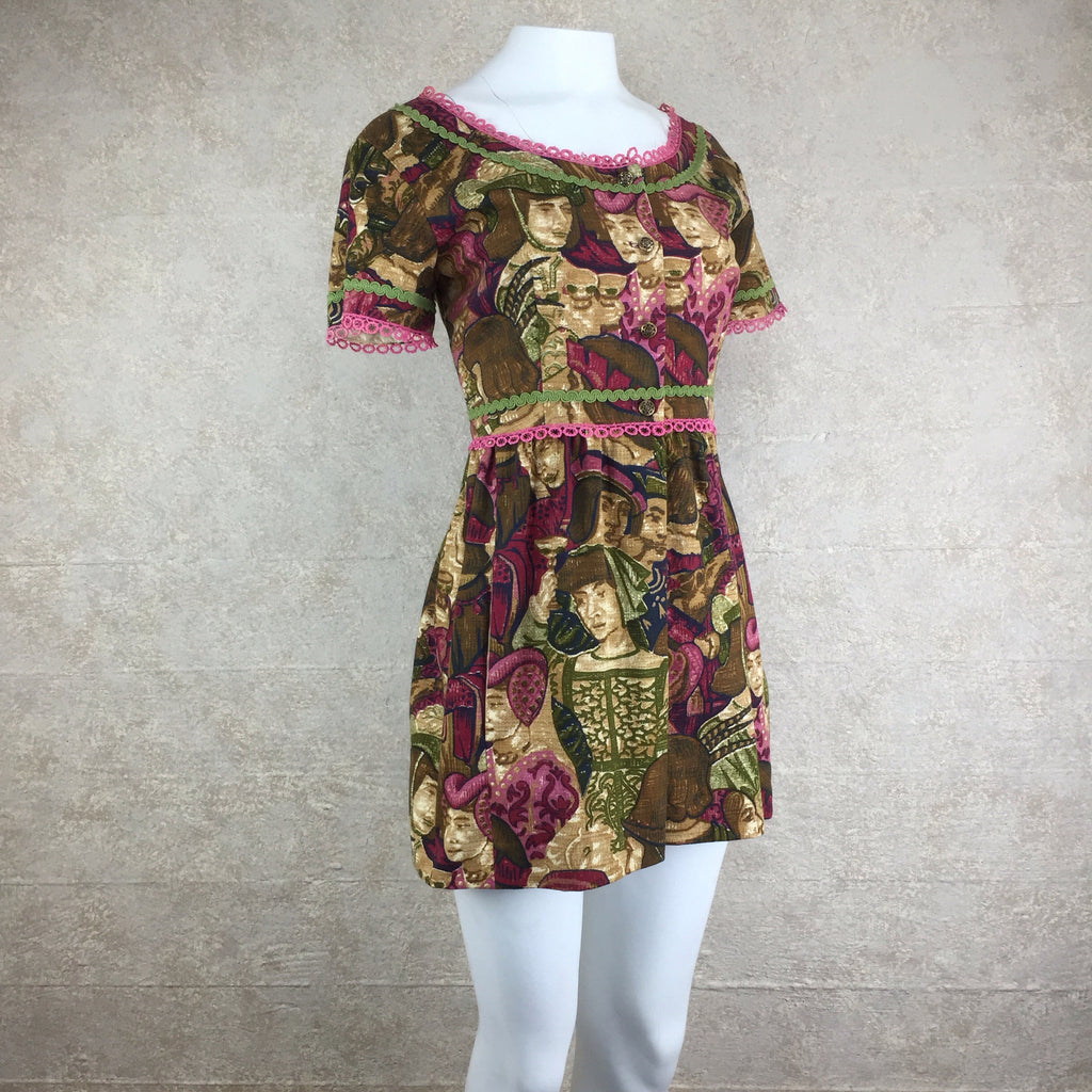 Vintage 60s Renaissance Print Linen Mini Dress, Side