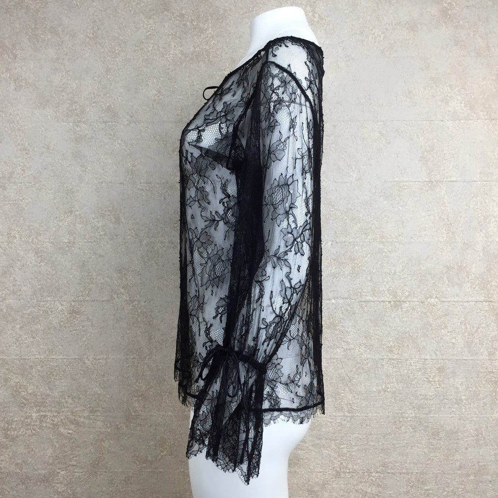 2000s Black Chantilly Lace Boho Blouse, Side 2