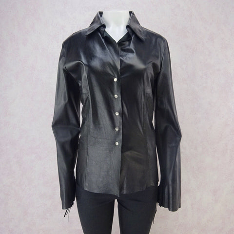 Vintage 90s EMANUEL Black Leather & Knit Zip-Front Jacket