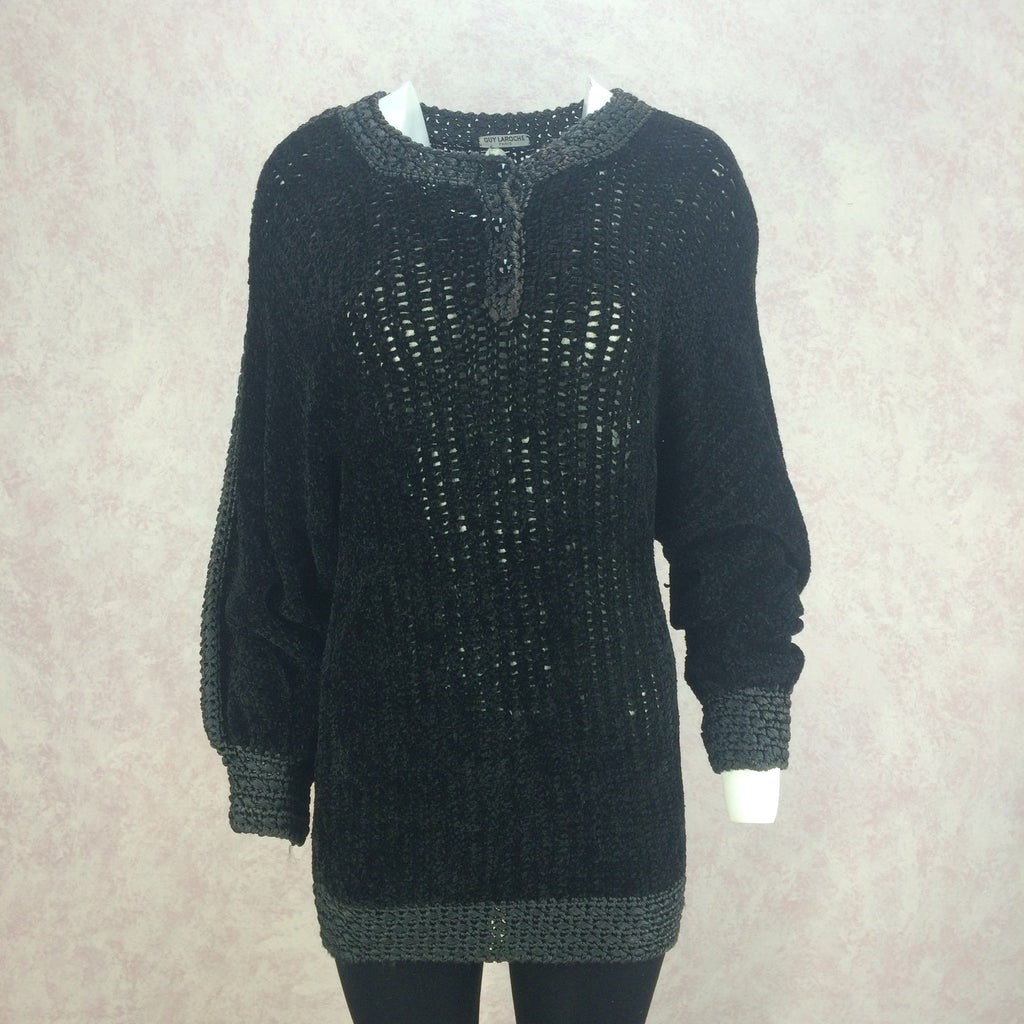 Vintage 80s GUY LAROCHE Chenille Knit Top, Front