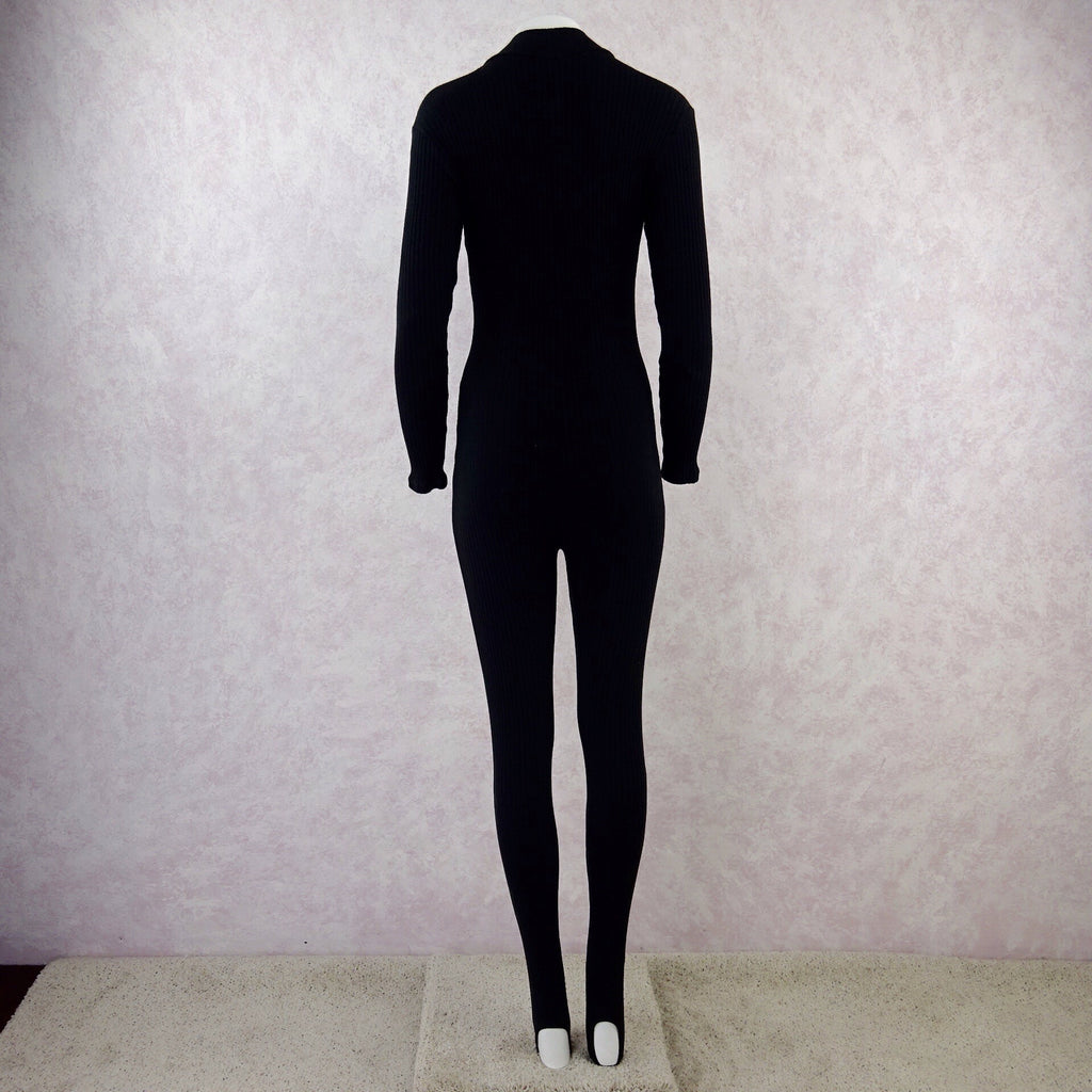 2000s BARISHNIKOV Black Zip Front Bodysuit, Back