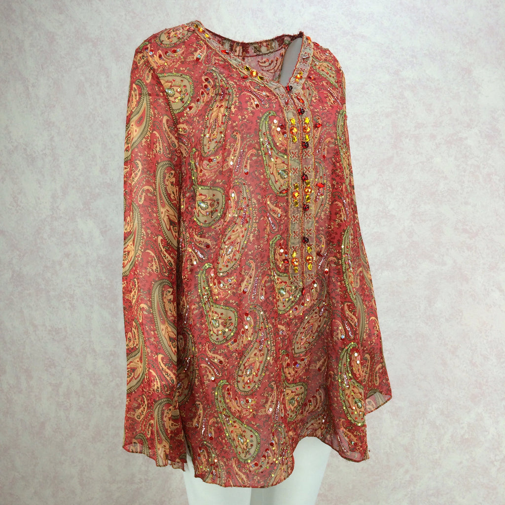 2000s Silk Paisley Tunic w/Colorful Beading Detail, Side