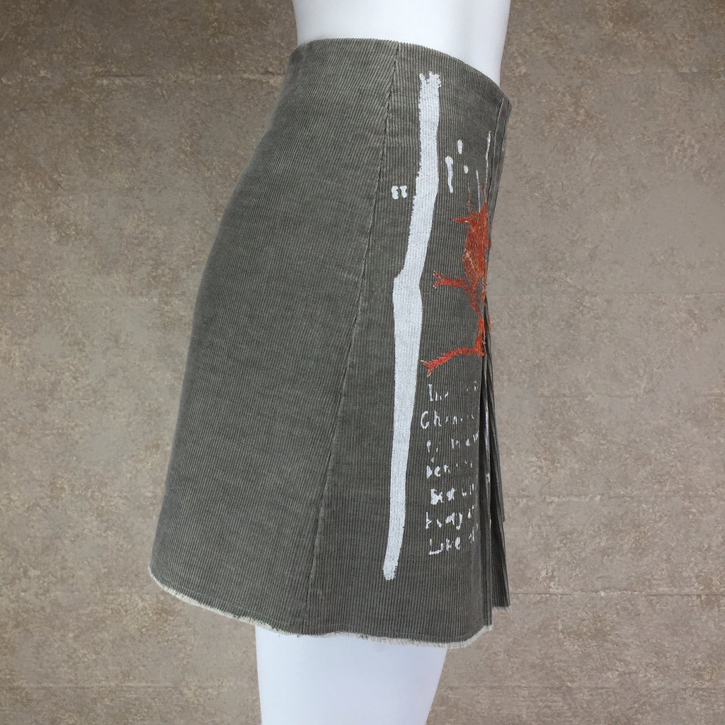 "2000s ""Just Cavalli"" Silkscreened Cordoroy Skirt, Side 2"