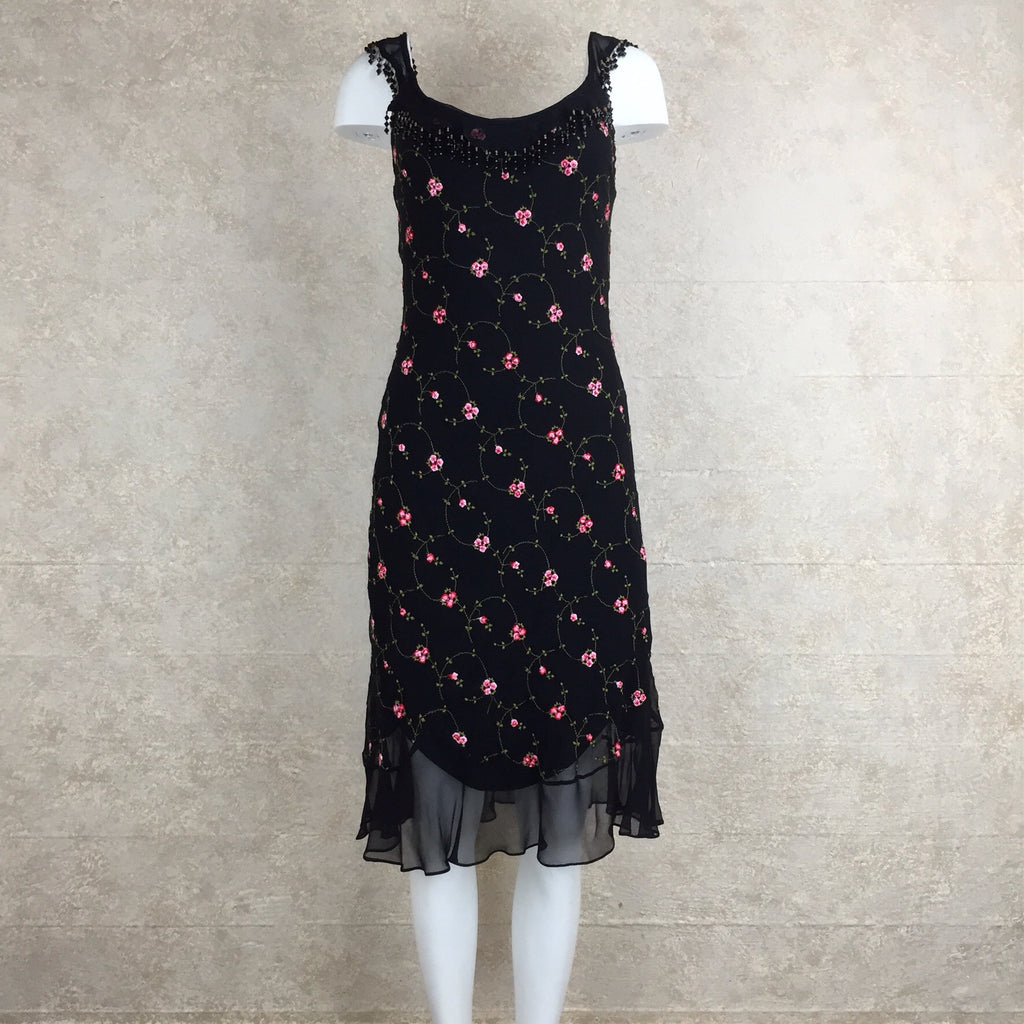 2000s BETSEY JOHNSON Embroidered Silk Dress, Front