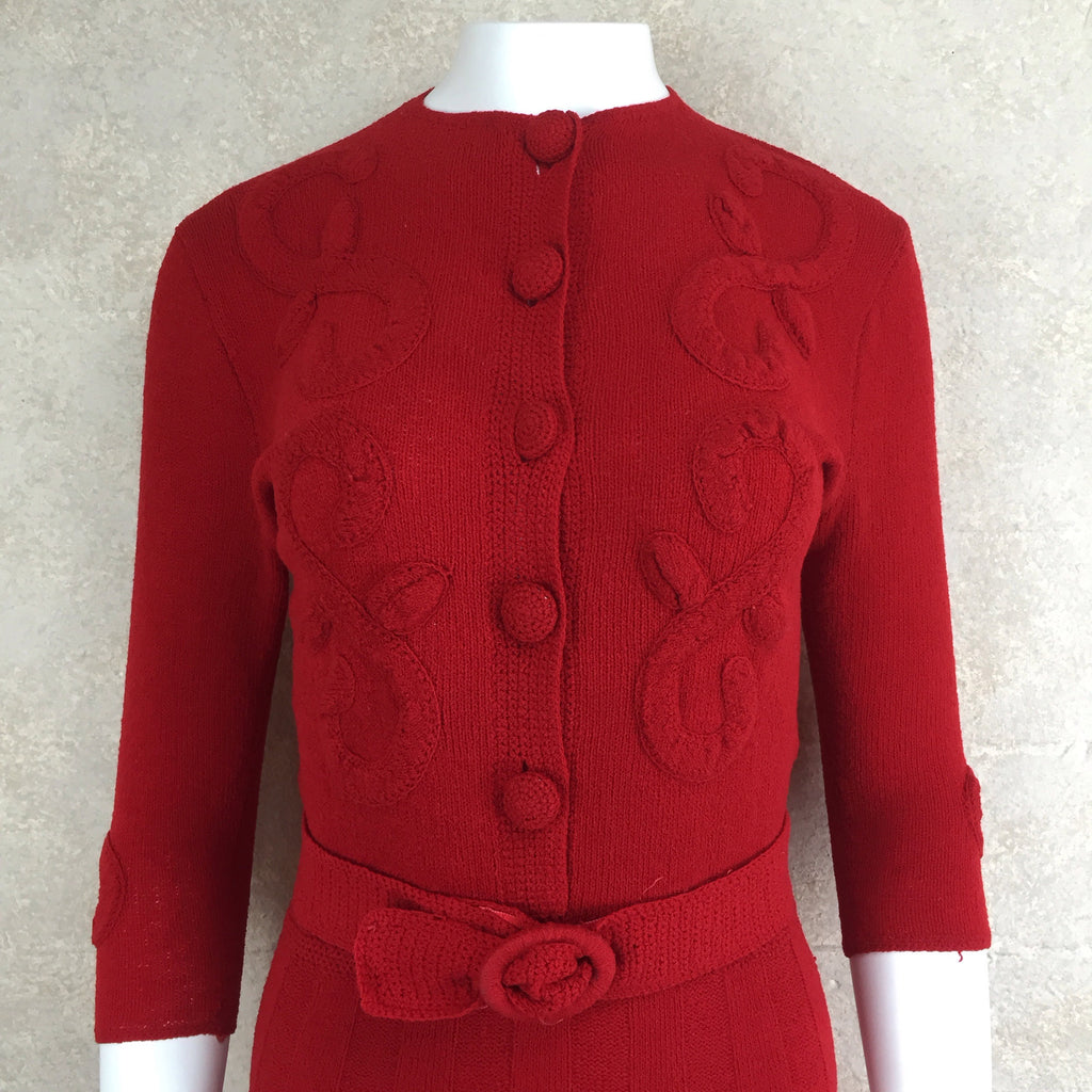 Vintage 40s Wool Bouclé Dress w/Floral Appliqué, Bodice