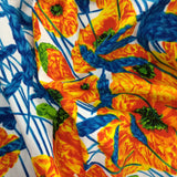 Vintage 70s Tropical Poppy Print Maxi Dress, Detail