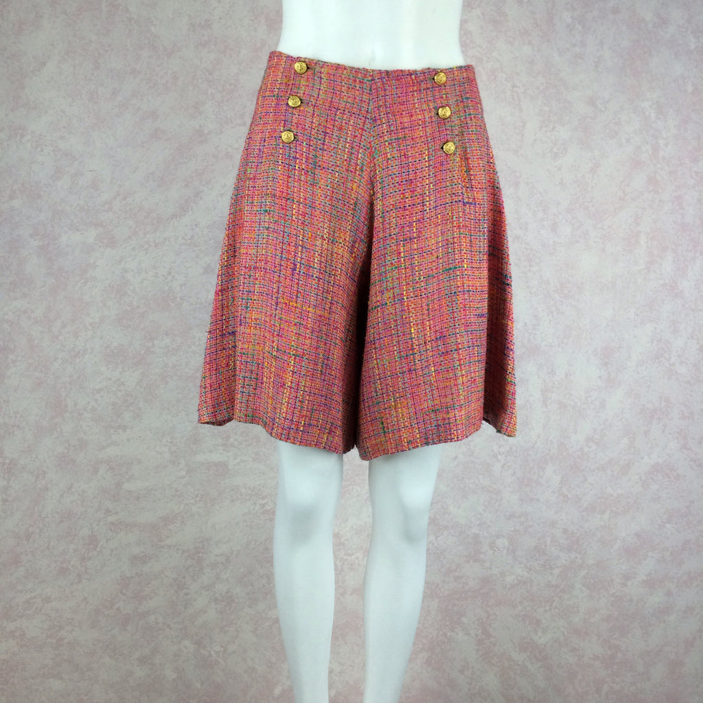 ***** 2000s HBR Multi-Color Tweed Shorts front 2