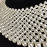 2000s 15 Row Wide Pearl Collar Necklace, Close up