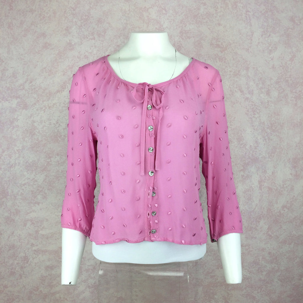 2000s GHOST Pink Swiss Dot Button Front Top, Front