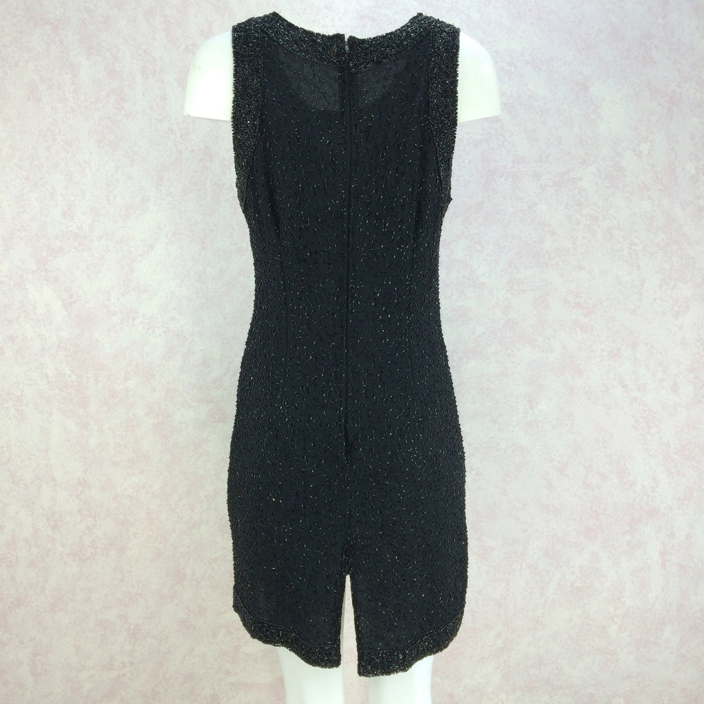 2000s Black Chiffon Beaded Sheath Dressqw