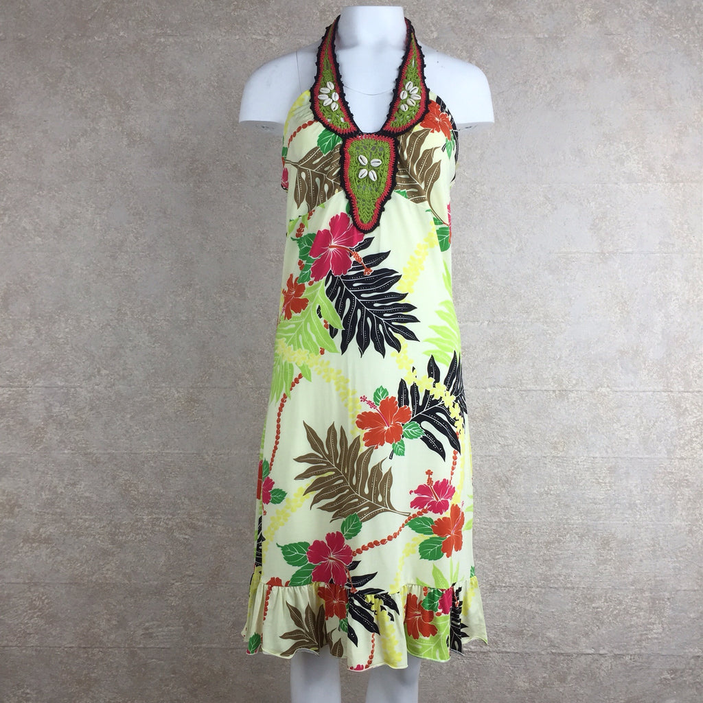 2000s MUCHACHA Tropical Print Flirty Dress, Front