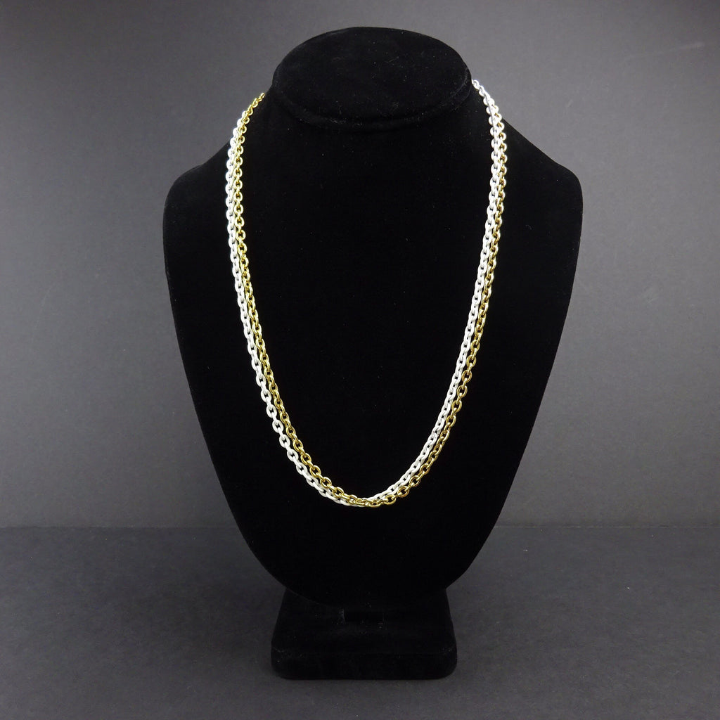 Vintage 70s Gold & White Link Chain Necklace, NWT