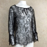 2000s Black Chantilly Lace Boho Blouse, Side