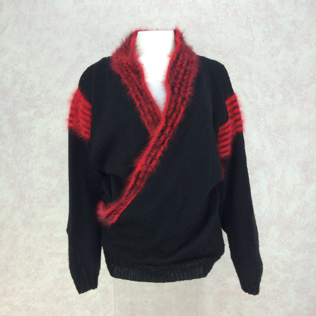 Vintage 90s Hand Knit Sweater w/Angora Stripes, Front