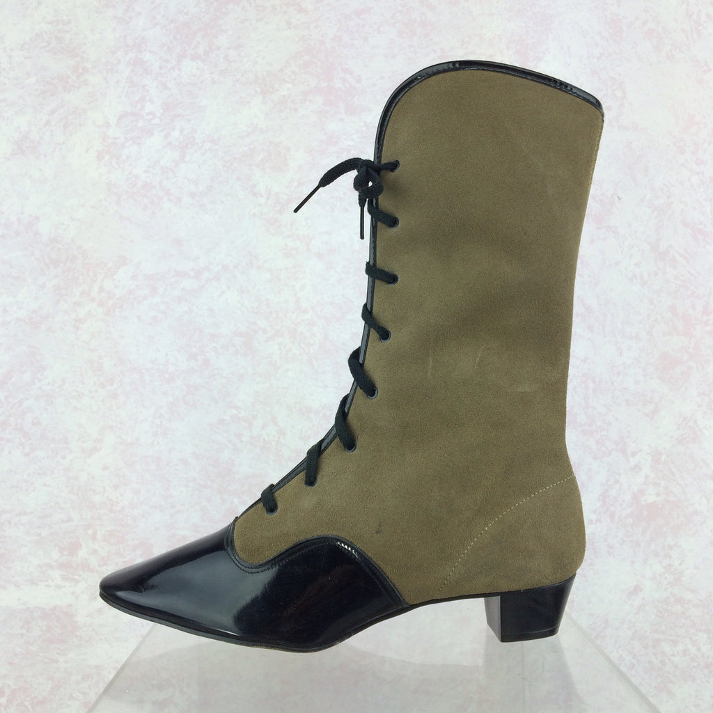Vintage 70s Victorian-Style Lace-Up Boots, Side solo