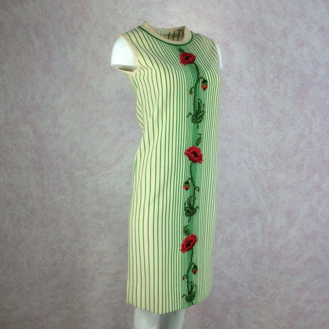 Vintage 60s Striped Knit Dress w/Embroidered Rose, Side