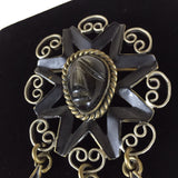 Vintage 50s Brass w/Obsidian Rebaje-Like Pin, Face