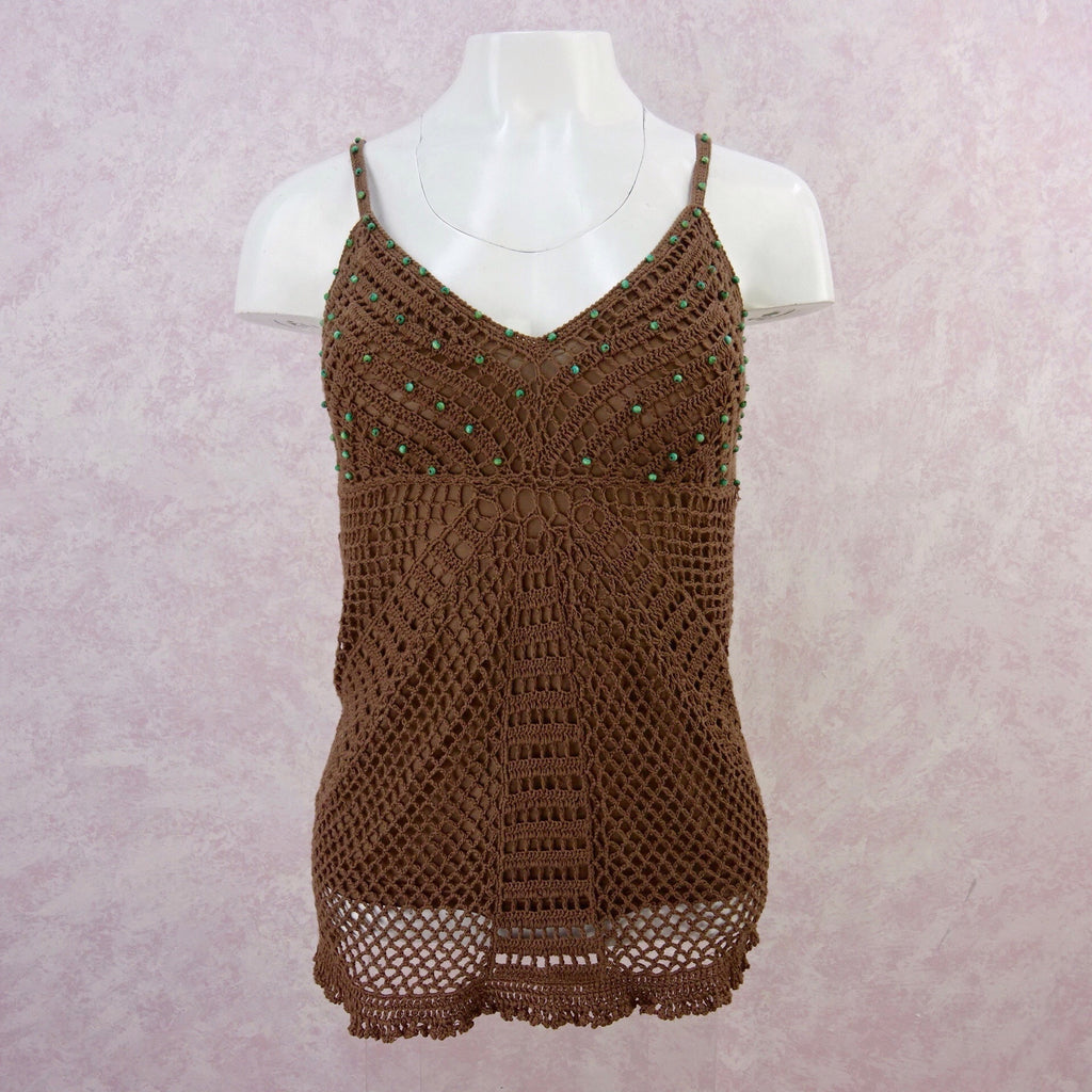 **** 2000s Crochet Lined Bronze Camisole Top, NWT front
