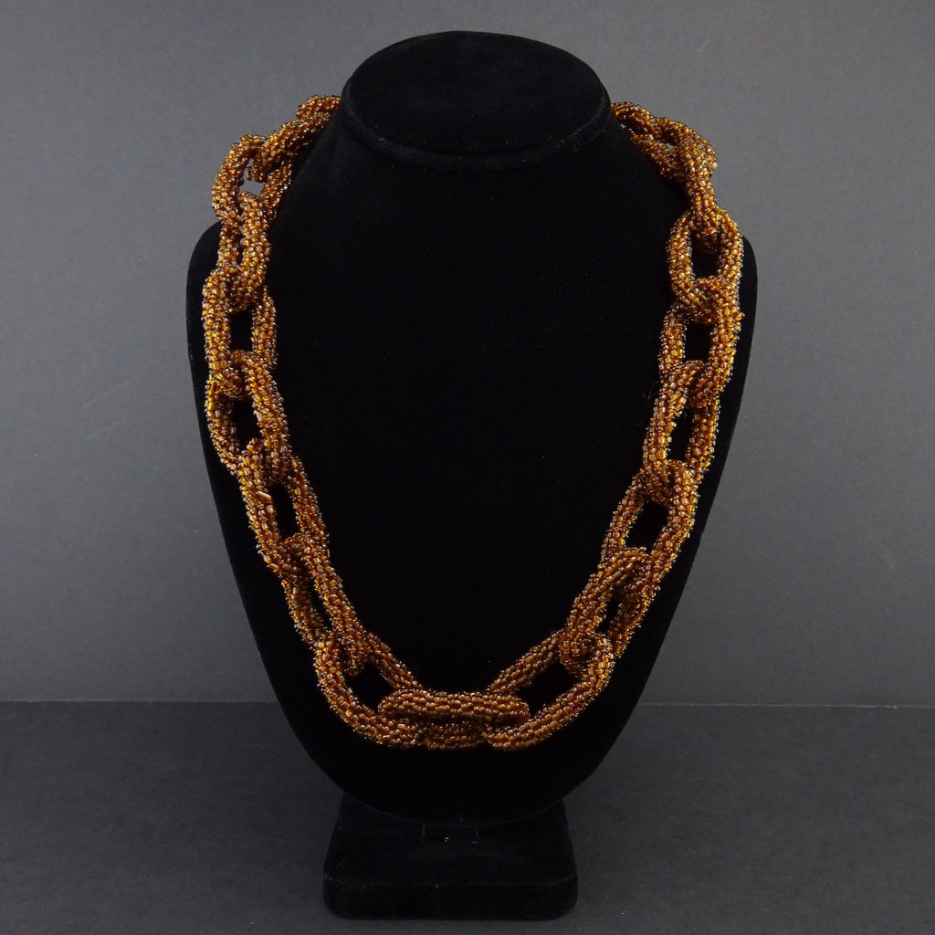 2000s Glass Beaded Link Chain Necklace
