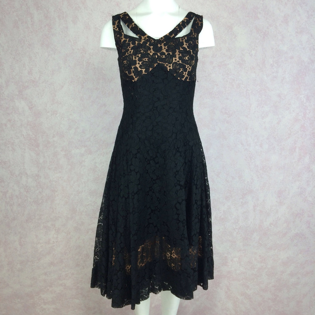 Vintage 60s Sexy Lace Sleeveless Cocktail Dress, Front