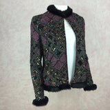 2000s CARINA Beaded & Faux Fur Jacket w/Embroidery, side