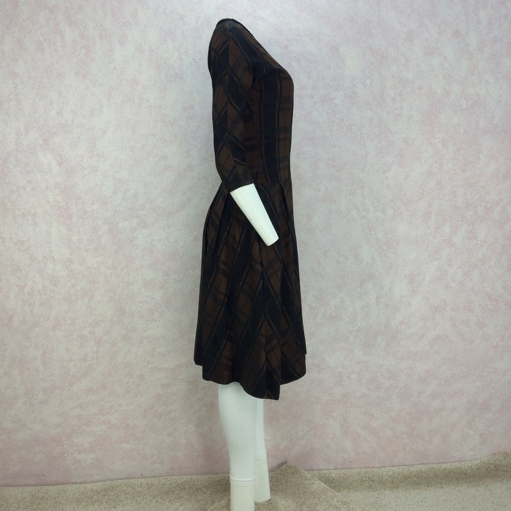 Vintage 50s Plaid Taffeta Drop Waist & Flair Dress side 2