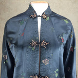 Vintage 60s Chinese Satin Floral Brocade Jacket, top half