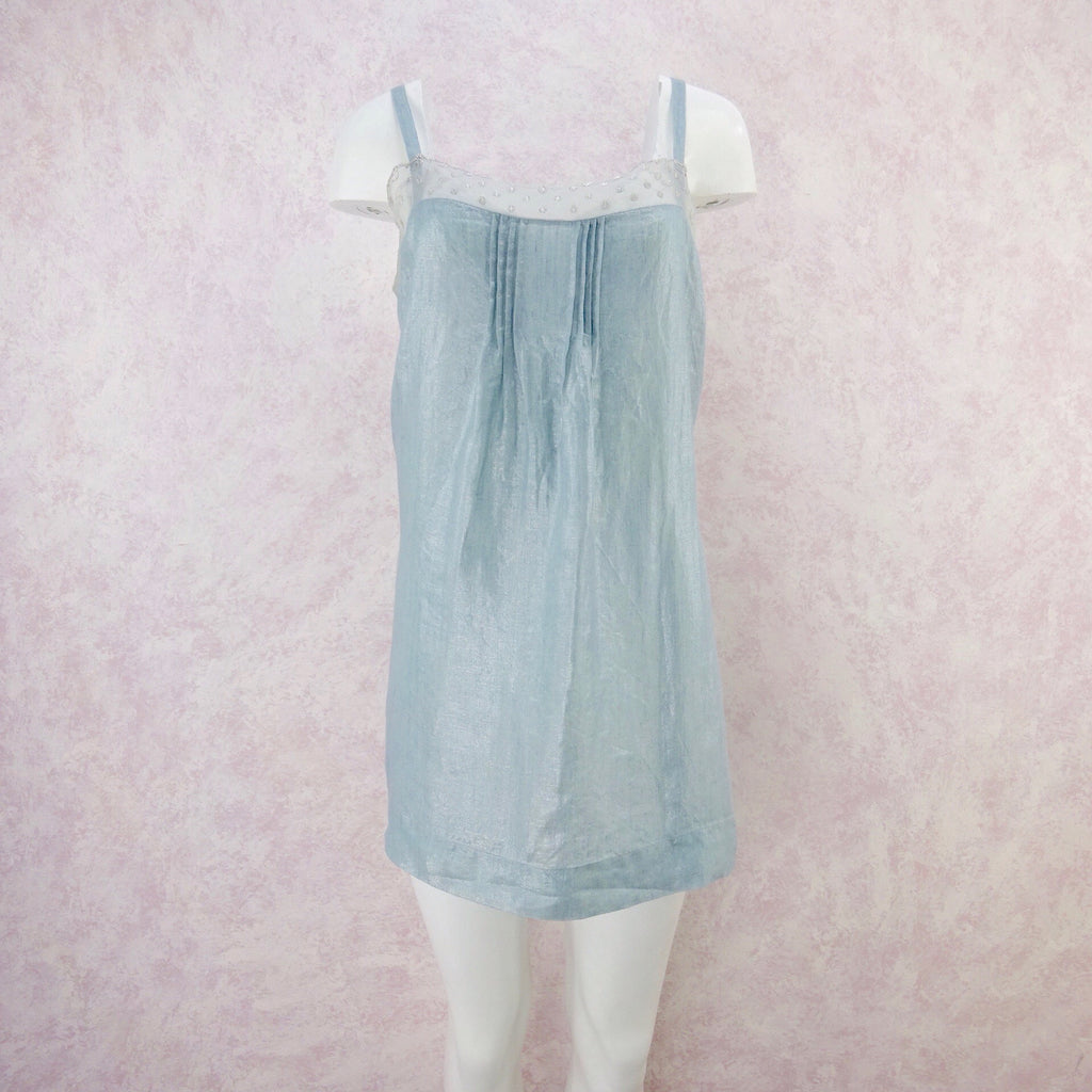 2000s DOSA Metallic Linen Slip Dress, NOS front
