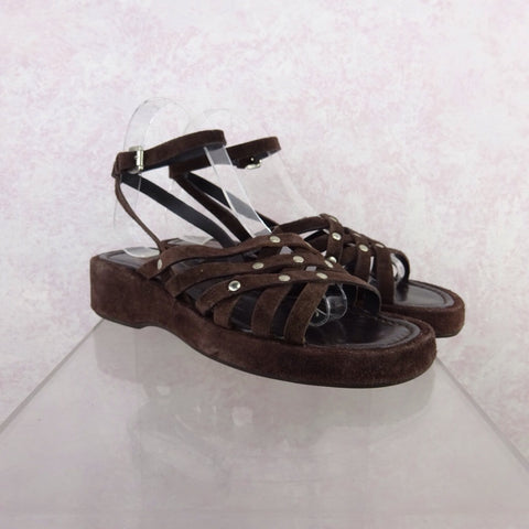 2000s Leather Ethnic-Inspired Sandals w/Whipstitch, NOS