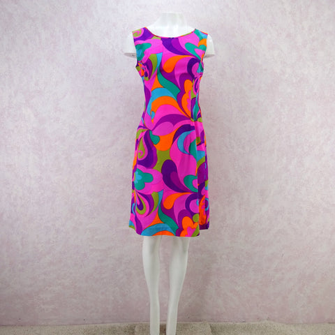 Vintage 60s Basic Slub Silk Sheath Dress