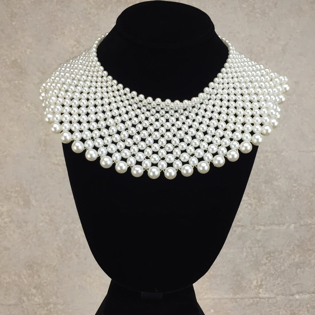 2000s 15 Row Wide Pearl Collar Necklace, Front
